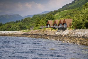 Photo of Loch Linnhe Lodges with the woodland of Gleann a Chaolais in the background and Tha Mamores in the far distance.