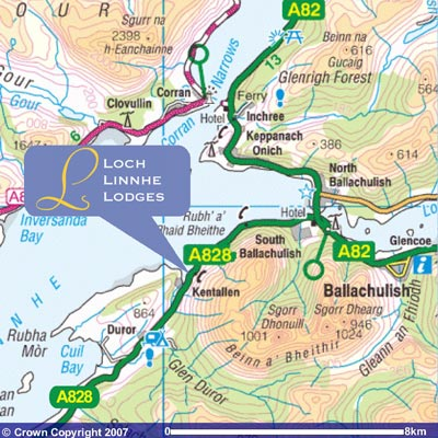 Map showing location of Loch Linnhe Lodges